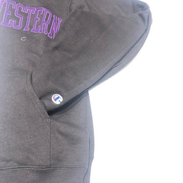 Northwestern University Wildcats Men's Black Champion Eco Powerblend Hooded Sweatshirt with Purple Arched Northwestern Wool Sewn Appliqué Design -5