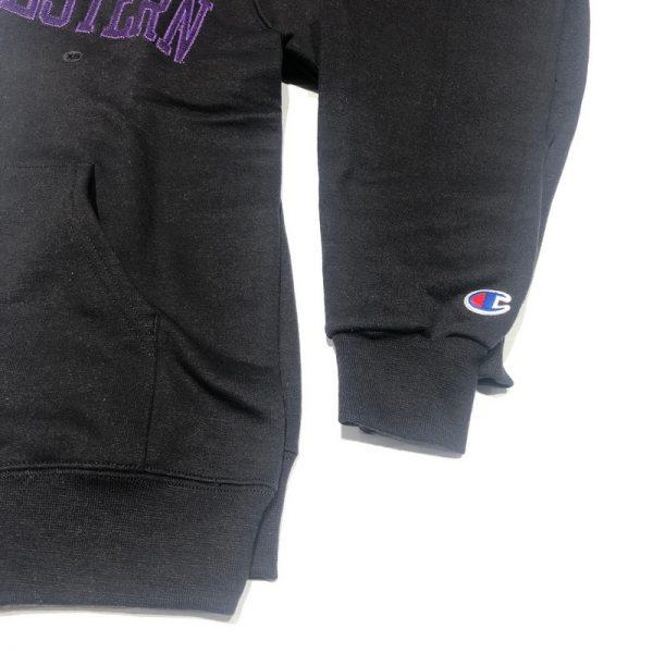 Northwestern University Wildcats Men's Black Champion Eco Powerblend Hooded Sweatshirt with Purple Arched Northwestern Wool Sewn Appliqué Design -3