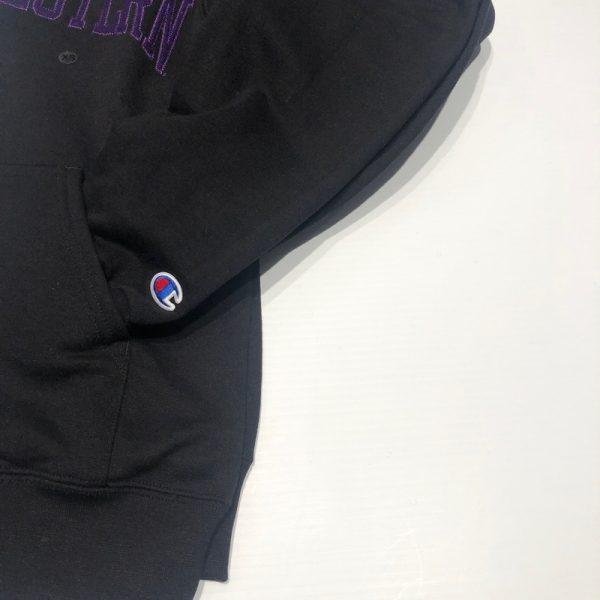Northwestern University Wildcats Men's Black Champion Eco Powerblend Hooded Sweatshirt with Purple Arched Northwestern Wool Sewn Appliqué Design -4