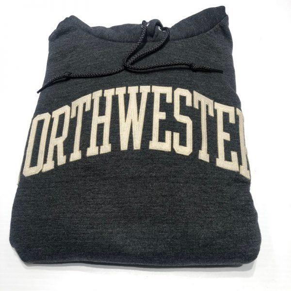 Northwestern University Wildcats Men's Granite Heather Champion Eco Powerblend Hooded Sweatshirt with Creamy White Arched Northwestern Wool Sewn Appliqué Design -2