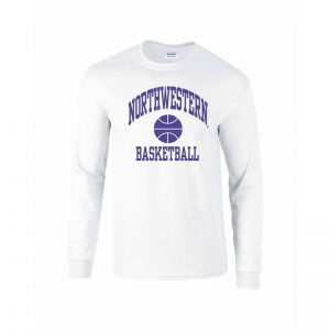 Northwestern University Wildcats White Long Sleeve Tee Shirt with Basketball Design