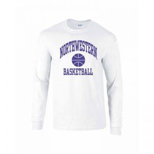 Northwestern University Wildcats White Long Sleeve Tee Shirt with Basketball Design