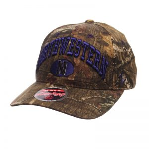 Northwestern University Wildcats Zephyr Constructed Adjustable Snapback Camo Hat With Arch Northwestern and Oval N Design