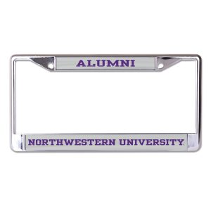 Northwestern University Wildcats Chrome License Plate Frame with Grey Laser Cut Alumni/Northwestern University Inserts