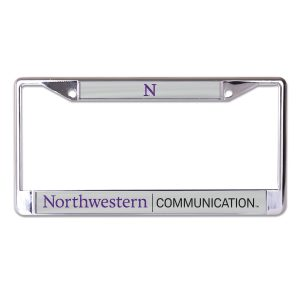 Northwestern University Wildcats Chrome License Plate Frame with Grey Laser Cut Northwestern/Communication Insert