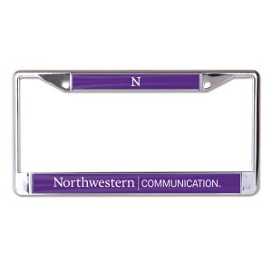 Northwestern University Wildcats Chrome License Plate Frame with Purple Laser Cut Northwestern/Communication Insert