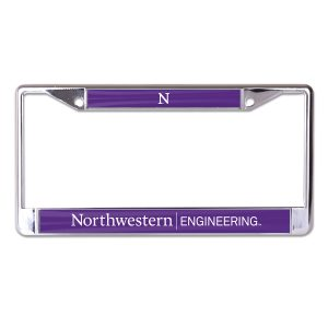 Northwestern University Wildcats Chrome License Plate Frame with Northwestern/Engineering On A Purple Insert