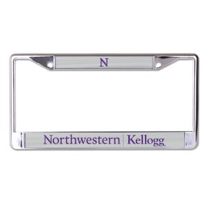 Northwestern University Wildcats Chrome License Plate Frame with Grey Laser Cut Northwestern/Kellogg Insert