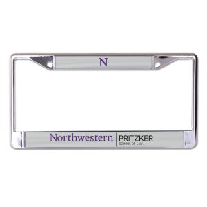 Northwestern University Wildcats Chrome License Plate Frame With Laser Cut Grey Northwestern/Law Insert