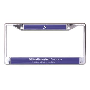 Northwestern University Wildcats Chrome License Plate Frame with Northwestern/Feinburg School of Medicine On Purple Inserts