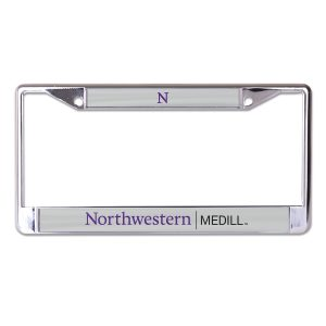 Northwestern University Wildcats Chrome License Plate Frame with Grey Laser Cut Northwestern/Medill Insert