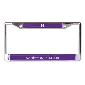 Northwestern University Wildcats Chrome License Plate Frame with Northwestern/Bienen School of Music On a Purple Insert