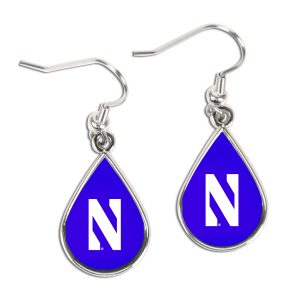 Northwestern University Wildcats Purple Teardrop Earring With Stylized N Design