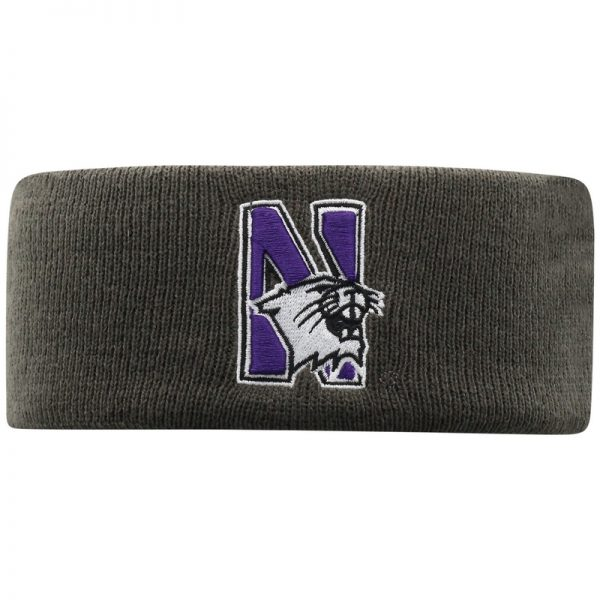 Northwestern University Wildcats Charcoal Knit Headband with N-Cat Design