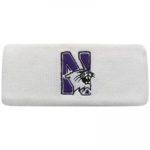 Northwestern University Wildcats White Knit Headband with N-Cat Design
