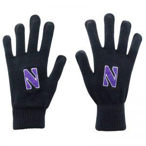 Northwestern University Wildcats Black Knit Gloves With Stylized N Design
