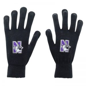 Northwestern University Wildcats Black Knit Gloves With N-Cat Design