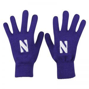 Northwestern University Wildcats Purple Knit Gloves With Stylized N Design