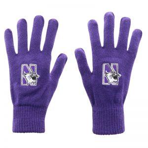 Northwestern University Wildcats Purple Knit Gloves With N-Cat Design