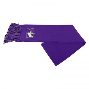 Northwestern University Wildcats Purple Knit Scarf With A Big N-Cat Logo At Each End
