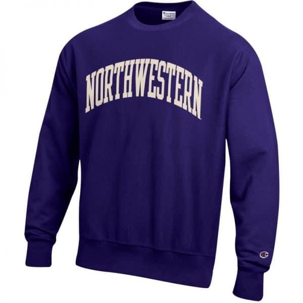 Northwestern University Wildcats Men's Purple Champion Super Heavy Reverse Weave Crewneck Sweatshirt with Creamy White Arched Northwestern Wool Sewn Appliqué Design