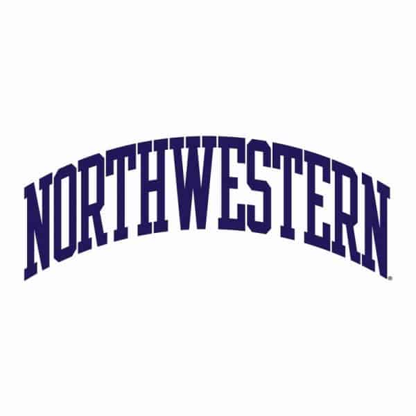 Northwestern University Wildcats Men's White Champion Eco Powerblend Crewneck Sweatshirt with Purple Arched Northwestern Wool Sewn Appliqué Design -3