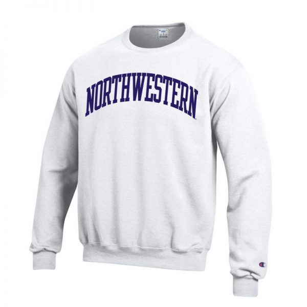 Northwestern University Wildcats Men's White Champion Eco Powerblend Crewneck Sweatshirt with Purple Arched Northwestern Wool Sewn Appliqué Design