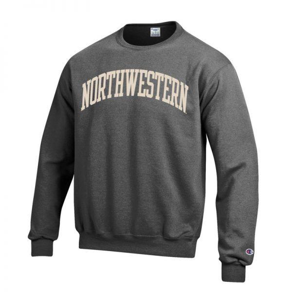 Northwestern University Wildcats Men's Granite Heather Champion Eco Powerblend Crewneck Sweatshirt with Creamy White Arched Northwestern Wool Sewn Appliqué Design