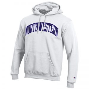 Northwestern University Wildcats Men's White Champion Eco Powerblend Hooded Sweatshirt with Purple Arched Northwestern Wool Sewn Appliqué Design
