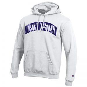 Northwestern University Wildcats Men's White Champion Eco Powerblend Hooded Sweatshirt with Purple Arched Northwestern Wool Sewn Appliqué Design