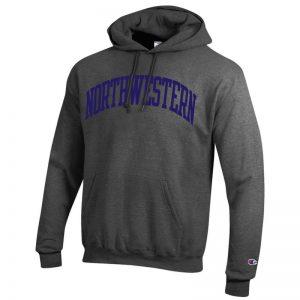 Northwestern University Wildcats Men's Granite Heather Champion Eco Powerblend Hooded Sweatshirt with Purple Arched Northwestern Wool Sewn Appliqué Design