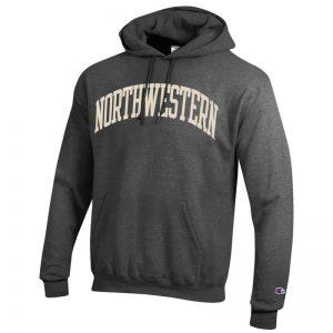 Northwestern University Wildcats Men's Granite Heather Champion Eco Powerblend Hooded Sweatshirt with Creamy White Arched Northwestern Wool Sewn Appliqué Design