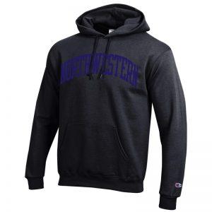 Northwestern University Wildcats Men's Black Champion Eco Powerblend Hooded Sweatshirt with Purple Arched Northwestern Wool Sewn Appliqué Design