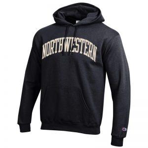 Northwestern University Wildcats Men's Black Champion Eco Powerblend Hooded Sweatshirt with Creamy White Arched Northwestern Wool Sewn Appliqué Design
