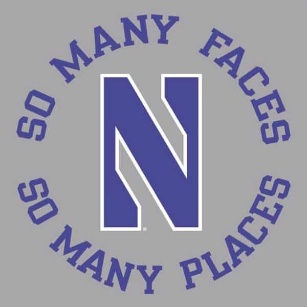 Northwestern University Wildcats Champion Men's Tee With So Many Faces So Many Places Design