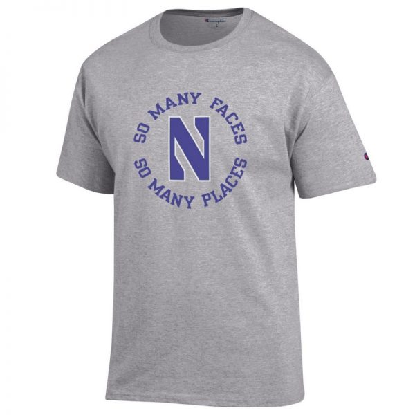 Northwestern University Wildcats Champion Men's Tee With So Many Faces So Many Places Design-1