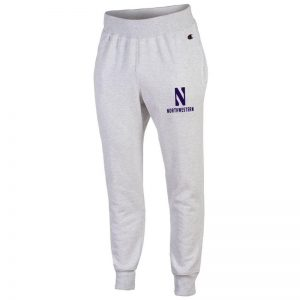 Northwestern University Wildcats Champion Men's Silver Grey Super Heavy Weight Reverse Weave Jogger Pant With Stylized N over Northwestern Design