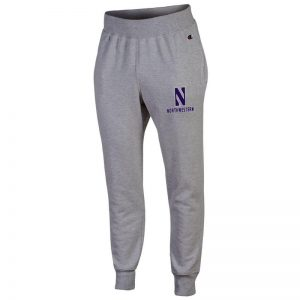 Northwestern University Wildcats Champion Men's Oxford Heather Super Heavy Weight Reverse Weave Jogger Pant With Stylized N over Northwestern Design