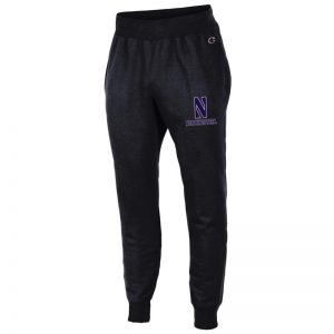 Northwestern University Wildcats Champion Men's Black Super Heavy Weight Reverse Weave Jogger Pant With Stylized N over Northwestern Design