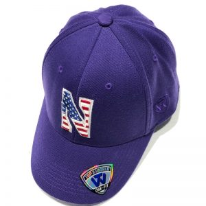 Northwestern University Wildcats Constructed Purple Hat With US Flag Inspired Stars & Stripes Stylized N Design