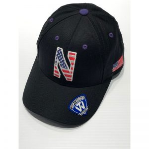 Northwestern University Wildcats Black Adjustable Velcroback Hat with Stars & Stripes Stylized N Design
