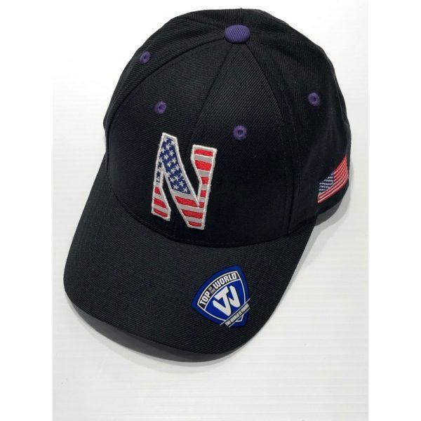 Northwestern University Wildcats Black Adjustable Velcroback Hat with Stars & Stripes Stylized N Design