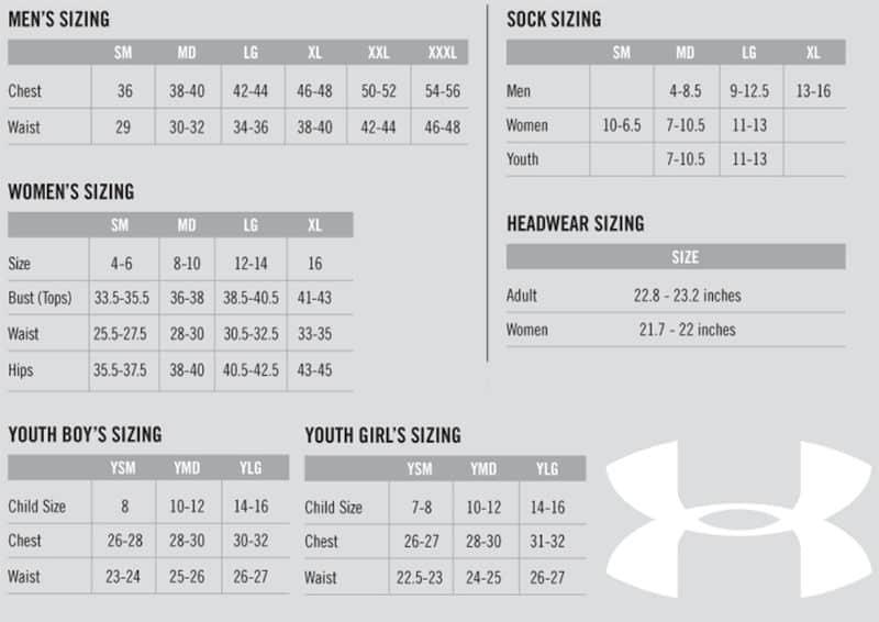 UA Sizing Chart