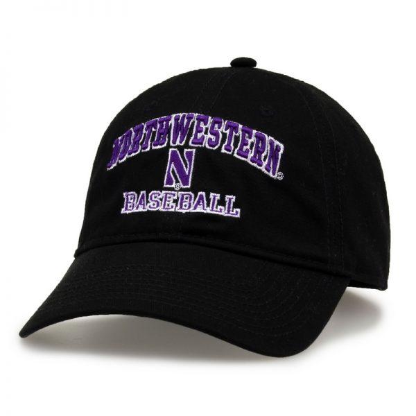 Northwestern University Wildcats Unconstructed Black Cotton Twill Hat with Baseball Design