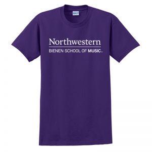 Northwestern University Purple Short Sleeve Tee Shirt with Bienen School of Music Design