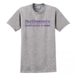 Northwestern University Wildcats Grey Short Sleeve Tee Shirt with Bienen School of Music Design