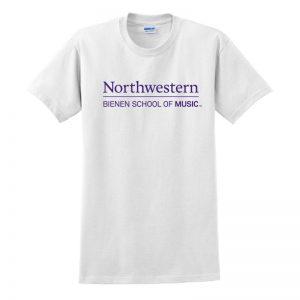 Northwestern University White Short Sleeve Tee Shirt with Bienen School of Music Design