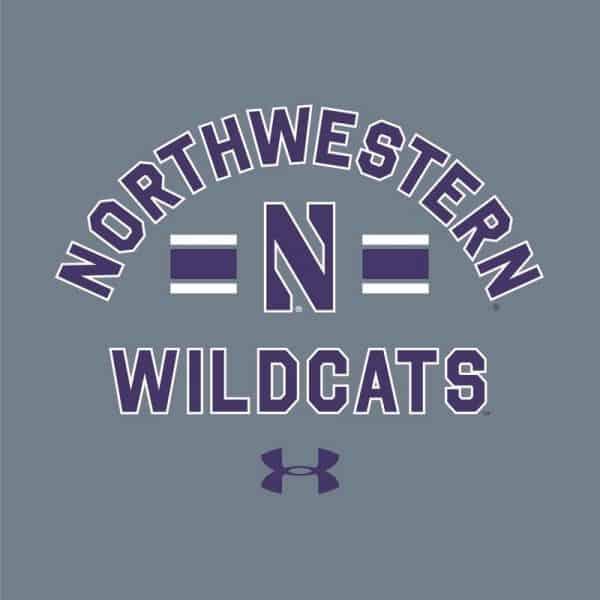 Northwestern University Wildcats Men's Under Armour Carbon Grey Heather All Day Fleece Crew With Stylized N Design -2