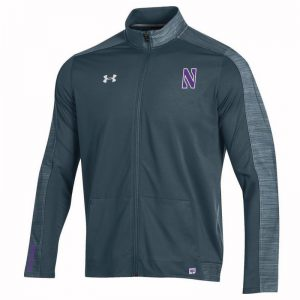 Northwestern University Wildcats Men's Under Armour Grey Sideline Lightweight Jacket With Stylized N Design