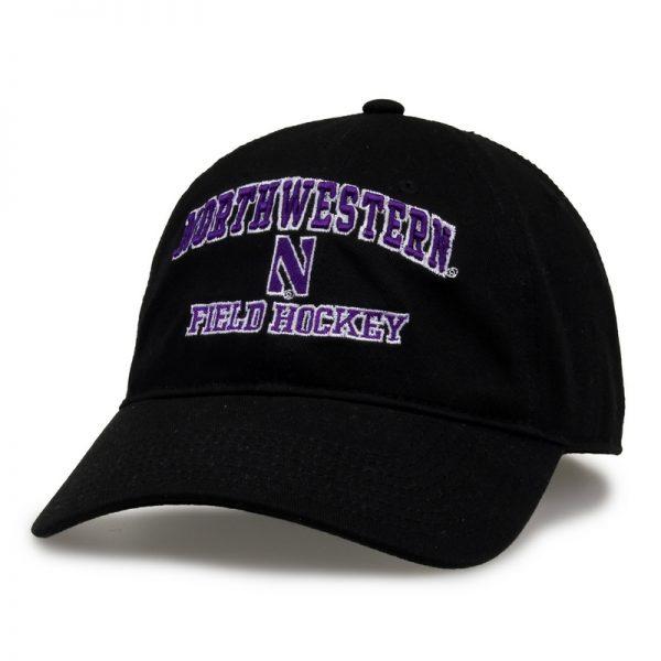 Northwestern University Wildcats Unconstructed Black Cotton Twill Hat with Field Hockey Design